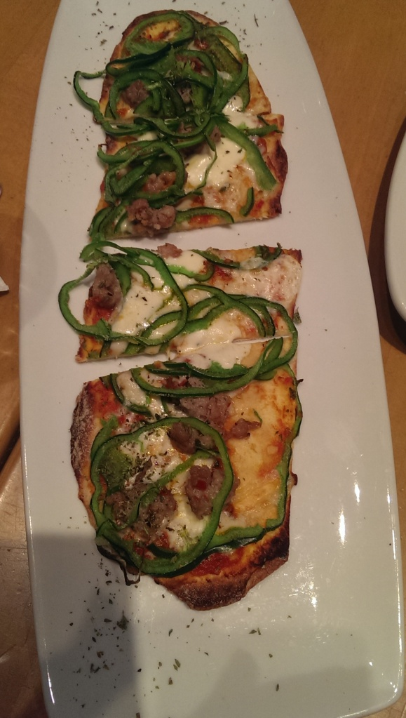 Spicy fennel sausage + poblano flatbread