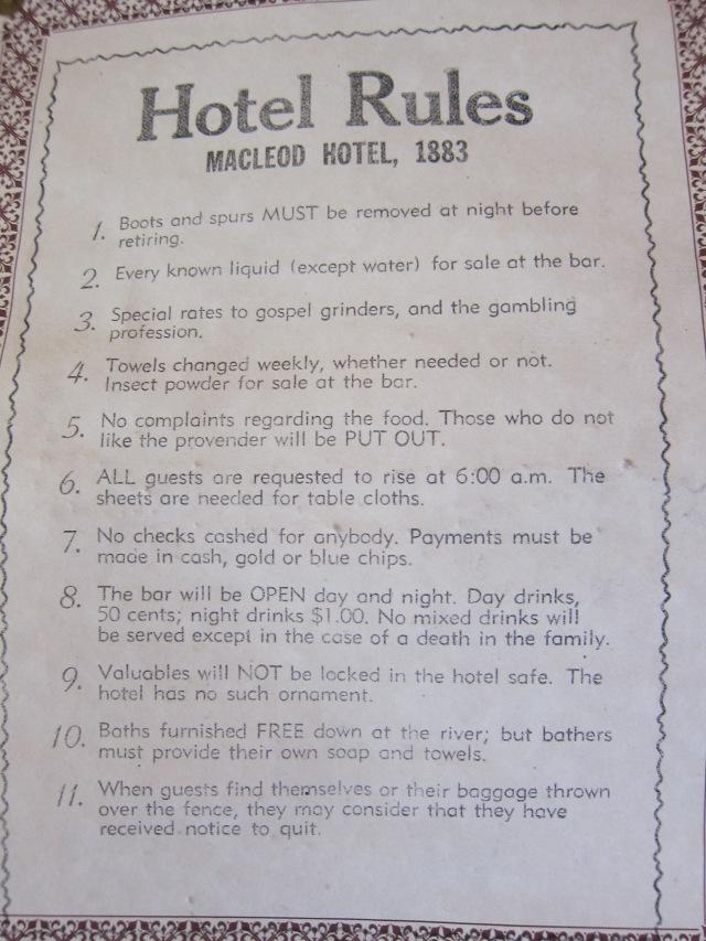 hotel rules 1883 heritage park calgary