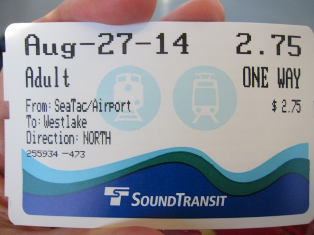 On our recent trip to Seattle, we took the light rail from SeaTac Airport to downtown Seattle. Compared to a taxi ride (which normally costs about USD$40-50). the ride only costs us USD$2.75 per person. Isn't that super economical?