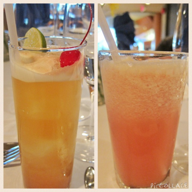 Singapore sling (left) and featured mocktail (right)