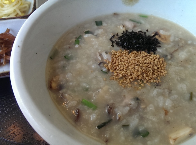 abalone & mushroom porridge